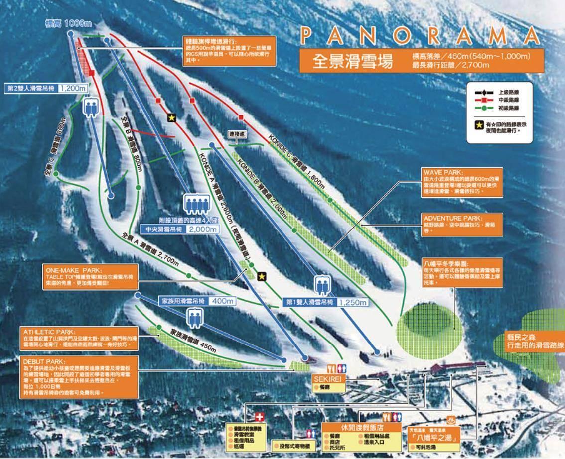 海外滑雪團,日本八幡平滑雪場路線示意圖