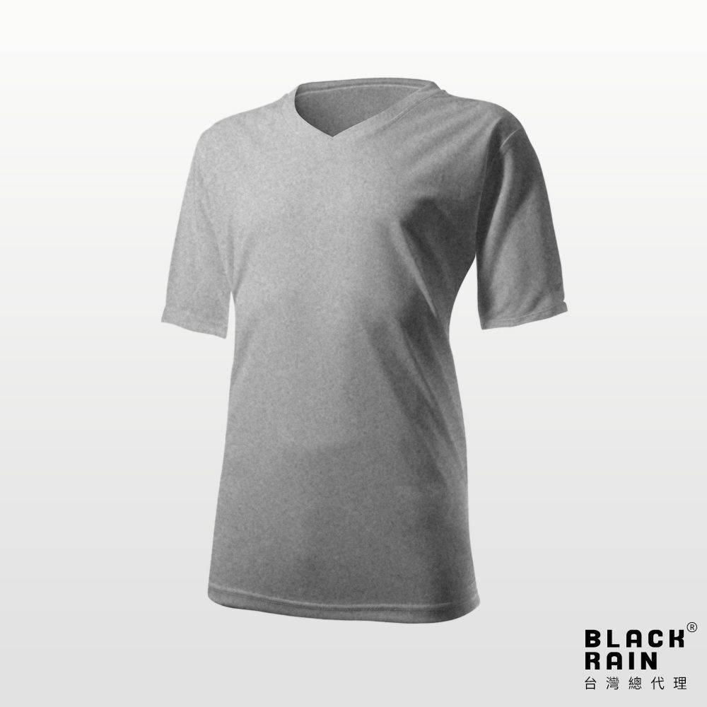 【荷蘭Black Rain】男款排汗V領涼感上衣 BR-8ADG3(8000 麻灰)