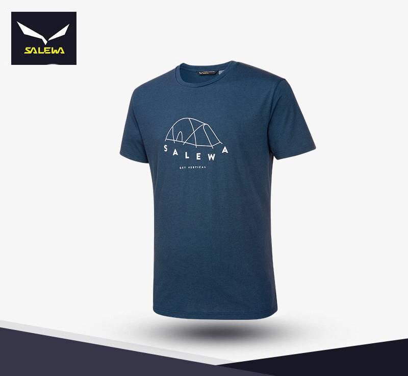 【義大利 SALEWA】FANES Dryton 男 帳篷圖案短袖T恤 26381
