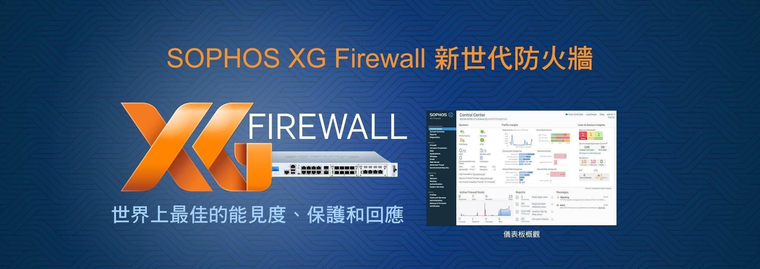 SOPHOS XG Firewall 新世代防火牆 - 世界上最佳的能見度、保護和回應
