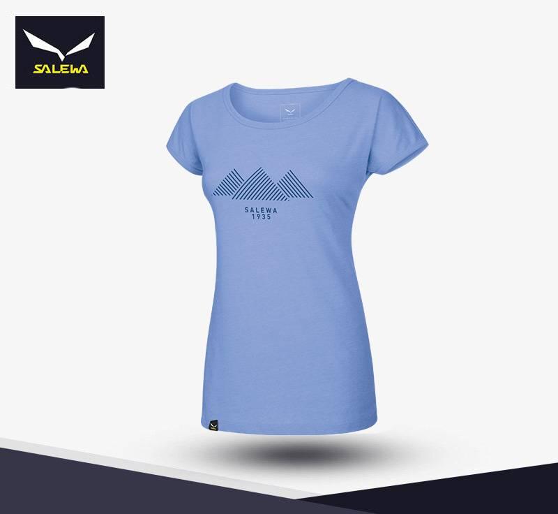 【義大利 SALEWA】女 Dryton 山峰圖案快乾短袖T恤 26259 (8350-灣藍)