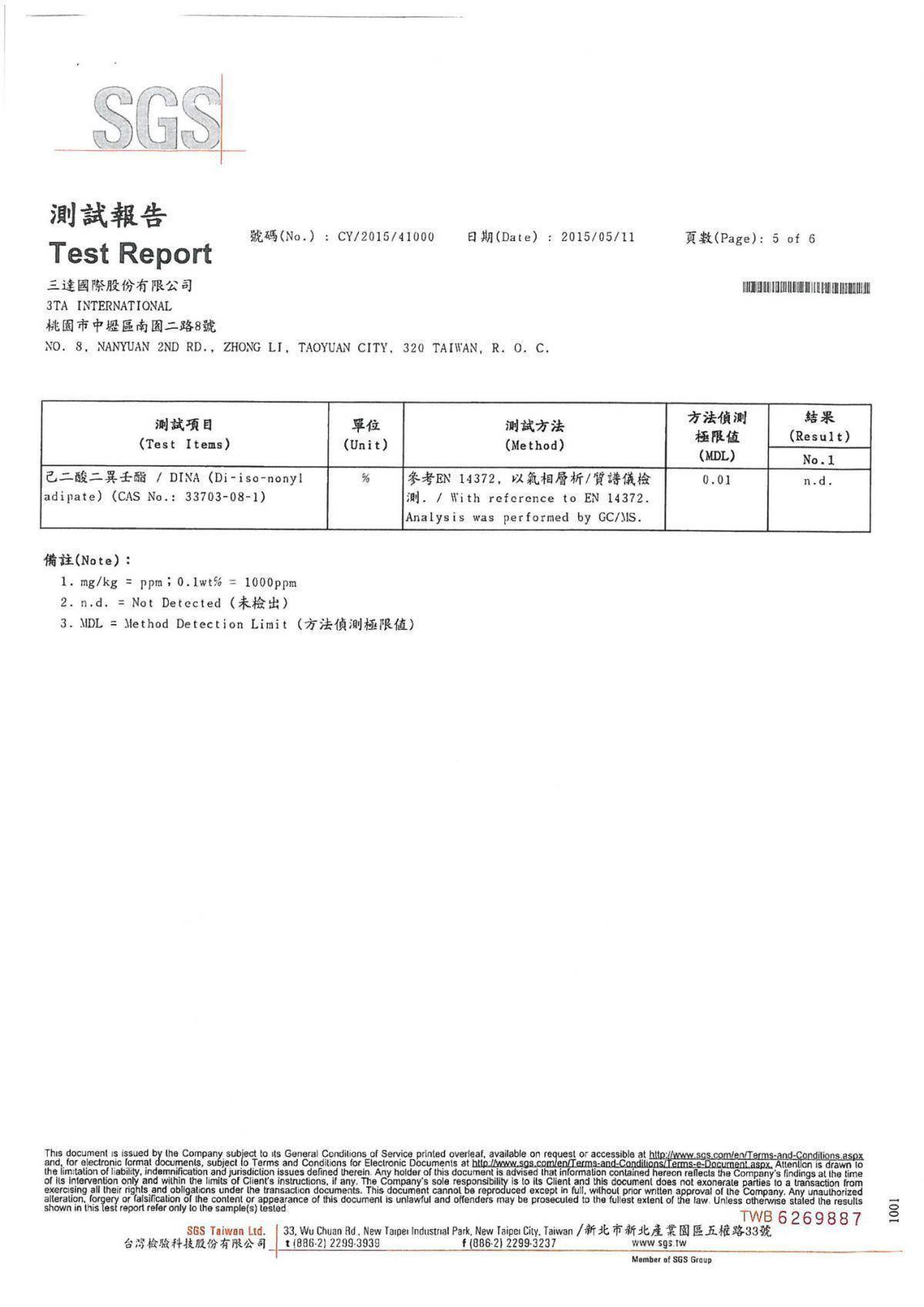 SGS-安全物質檢測報告