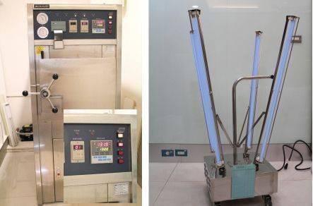 紫外線消毒燈(右圖)、專業麻醉機、生理氣體監測儀