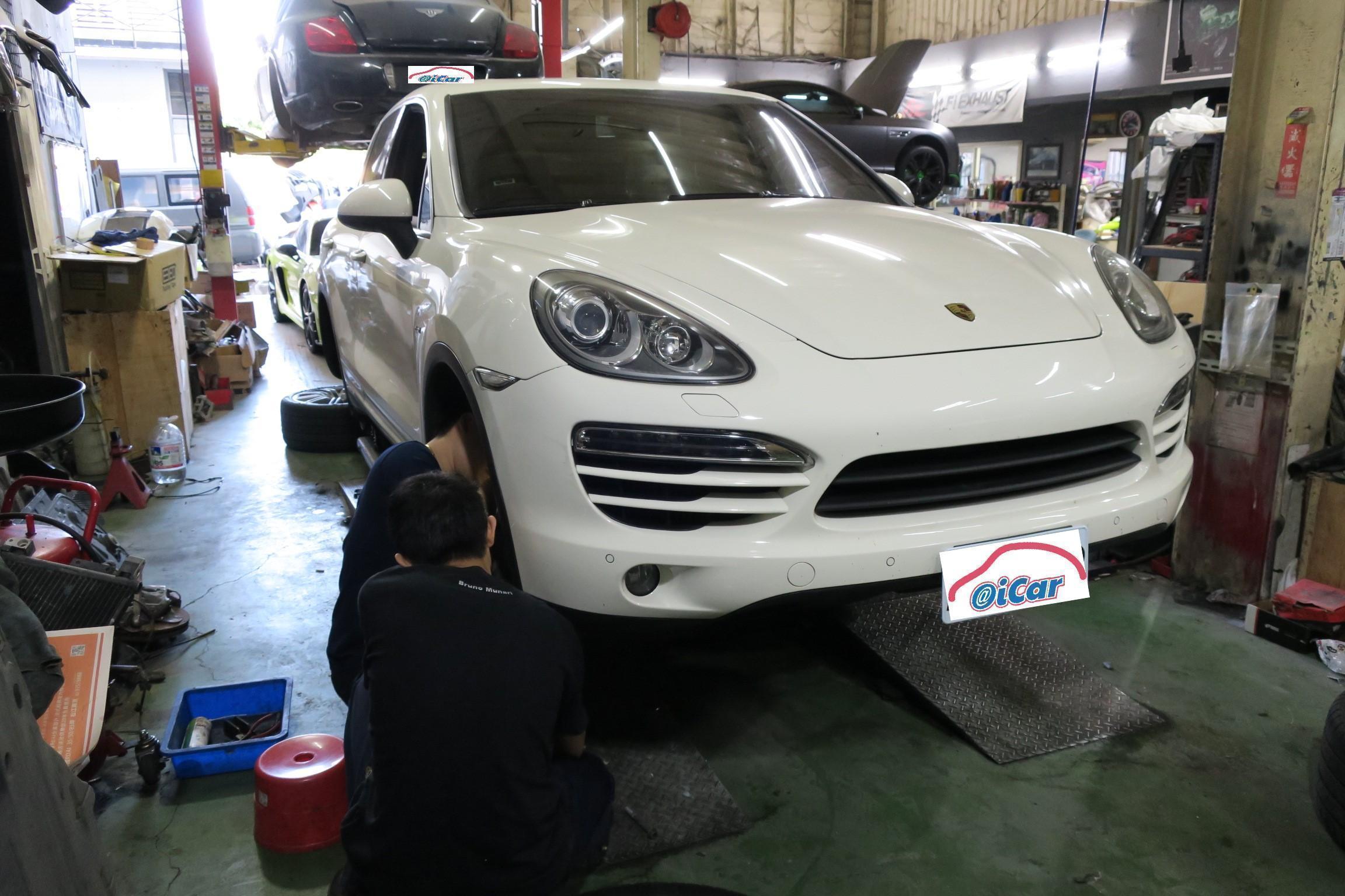 PORSCHE煞車系統維修施工情況。