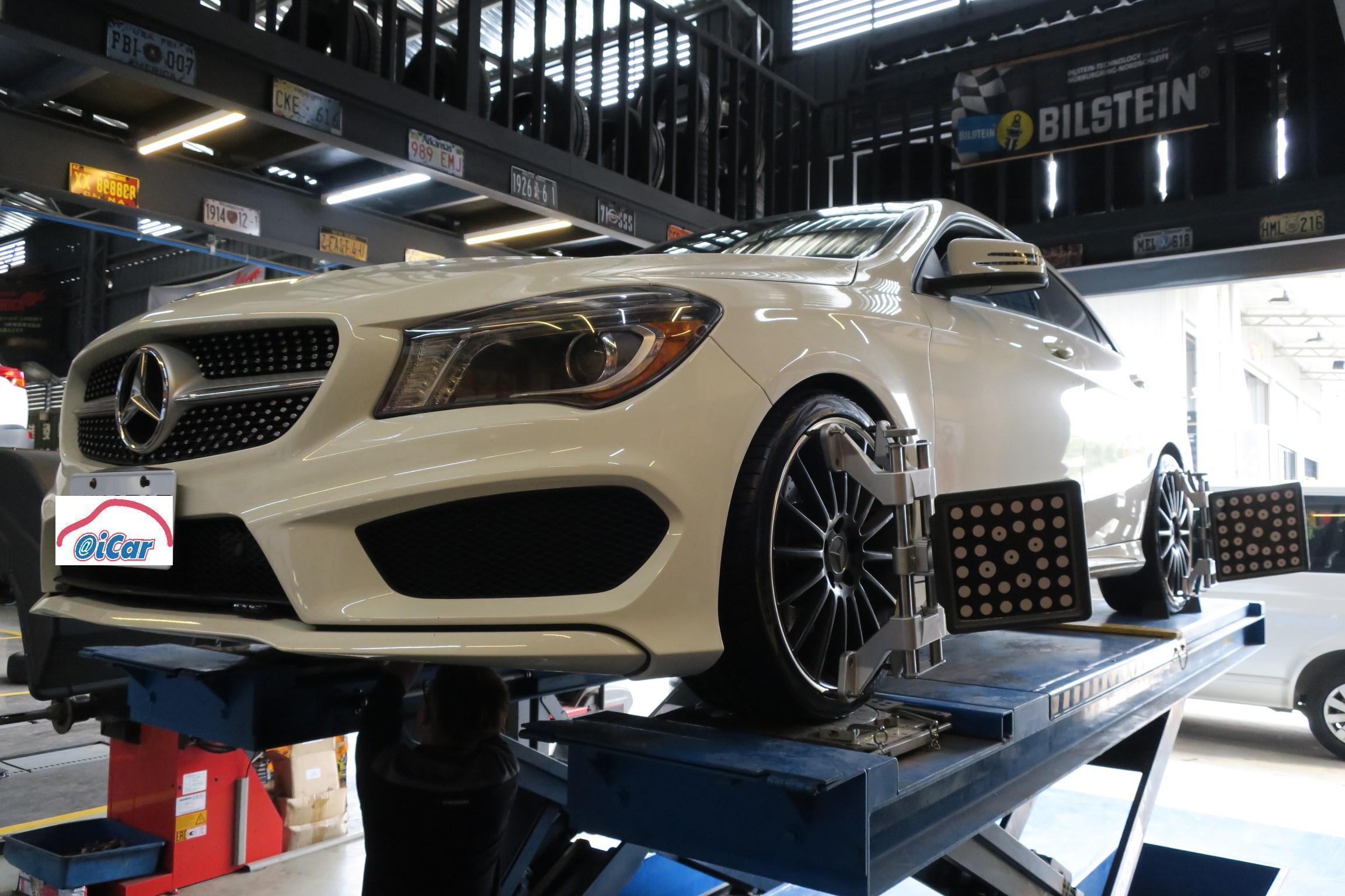 Benz更換輪胎後,進行四輪定位施工情況,進發柏仕車業定位技術可是準到一個不行!!