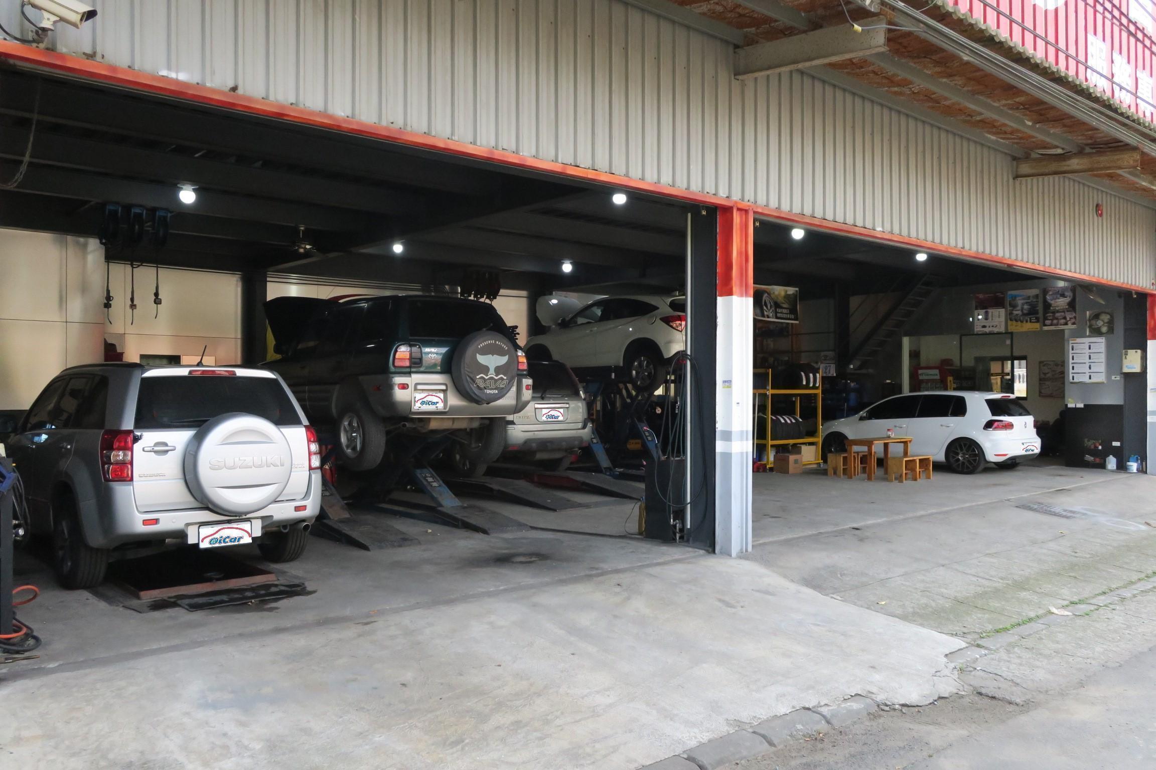 (圖2)富全汽車修護廠內共四個保修施工區,分別分為快速保養、維修、輪胎定位區,規劃十分的用心。